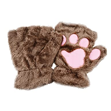 Apparel Accessories Winter Women Cute Cat Claw Paw Plush Mittens Short Fingerless Gloves Half Finger Gloves