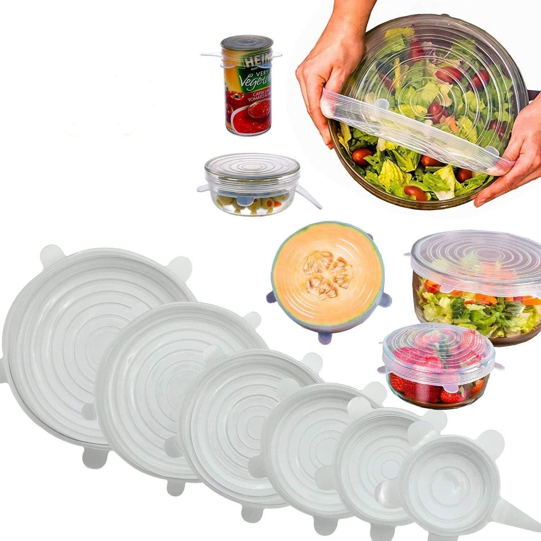 6 Pack]Tapas de silicona elásticas, Condant Tapas Extensibles ...