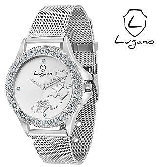 be8eade2d98 Buy Lugano White Dial Heart Printed Analog Watch-for Women.Girls ...