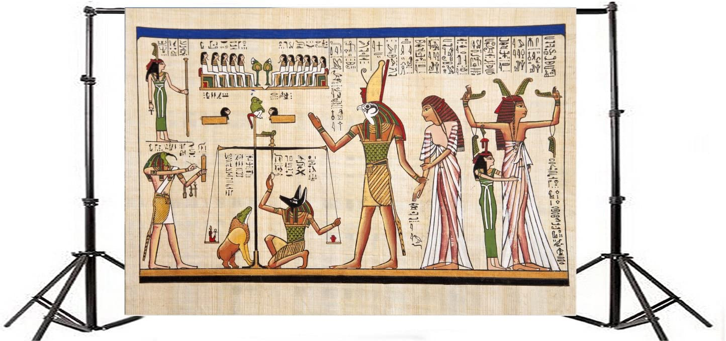 Cassisy 2.2x1.5m Vinyl Egyptian Party Backdrop Ancient Pattern National Drawing Egyptian Goddess Isis Photo Background for Photo Shoots Adult Studio Props Photography Backdrops