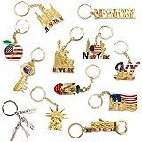 NYC 纪念品钥匙扣系列 - 12 件套包括帝国国、自由塔、自由雕像、美国国旗、纽约市以及更多