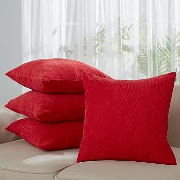 Deconovo Lot de 4 Housse d\'oreiller 45x45cm en Velours Côtelé Housse  Coussin Rouge Canapé Salon Exterieur Doraction de Jardin Une Fermeture a ...