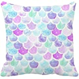 "4TH Emotion Watercolor Mermaid Scales Throw Pillow Cover Bright Summer Beach Decor Cushion Case for Sofa Couch 18"" x 18"" Inch"