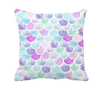 Watercolor Mermaid Scales Throw Pillow