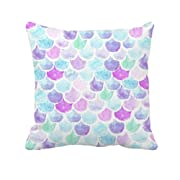 4TH Emotion Watercolor Mermaid Scales Throw Pillow Cover Bright Summer Beach Decor Cushion Case for Sofa Couch 18  x 18  Inch