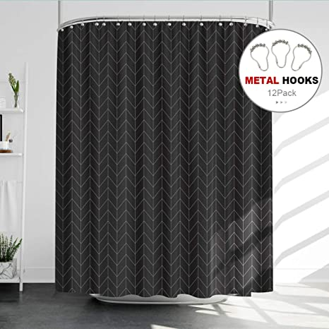 Riyidecor Striped Herringbone Chevron Shower Curtain Panel 72x96 Inch Metal Hooks 12 Pack Extra Long Black Geometric Decor Fabric Bathroom Set Polyester Waterproof