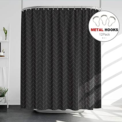 Riyidecor Striped Herringbone Chevron Shower Curtain Panel 72x96 Inch Metal Hooks 12 Pack Extra Long Black Geometric Decor Fabric Bathroom Set Polyester Waterproof