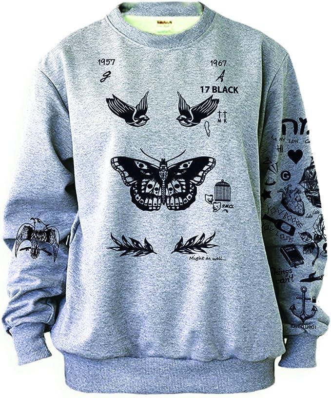 Noonew Damen Schmetterling Tattoos Sweatshirt Grau