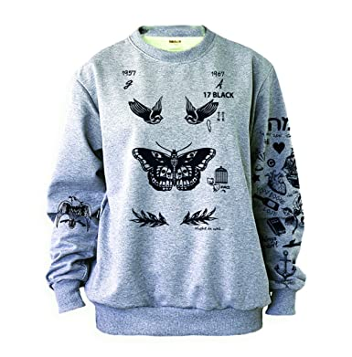 cba3c159e7df Noonew Women s Butterfly Tattoos Sweatshirt Grey at Amazon Women s ...