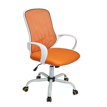 Silla de trabajo de oficina Aingoo Silla de escritorio de mesa giratoria de malla Soporte lumbar con brazos, blanco y naranja: Amazon.es: Hogar