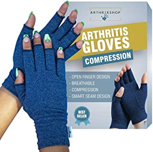 Rheumatoid Pain Compression Arthritis Gloves. Pain Relief, Ease Muscle Tension, Relieve Carpal Tunnel Ache for Men and Women, Heat Hand Gloves for Computer. (Navy Blue) (Medium)