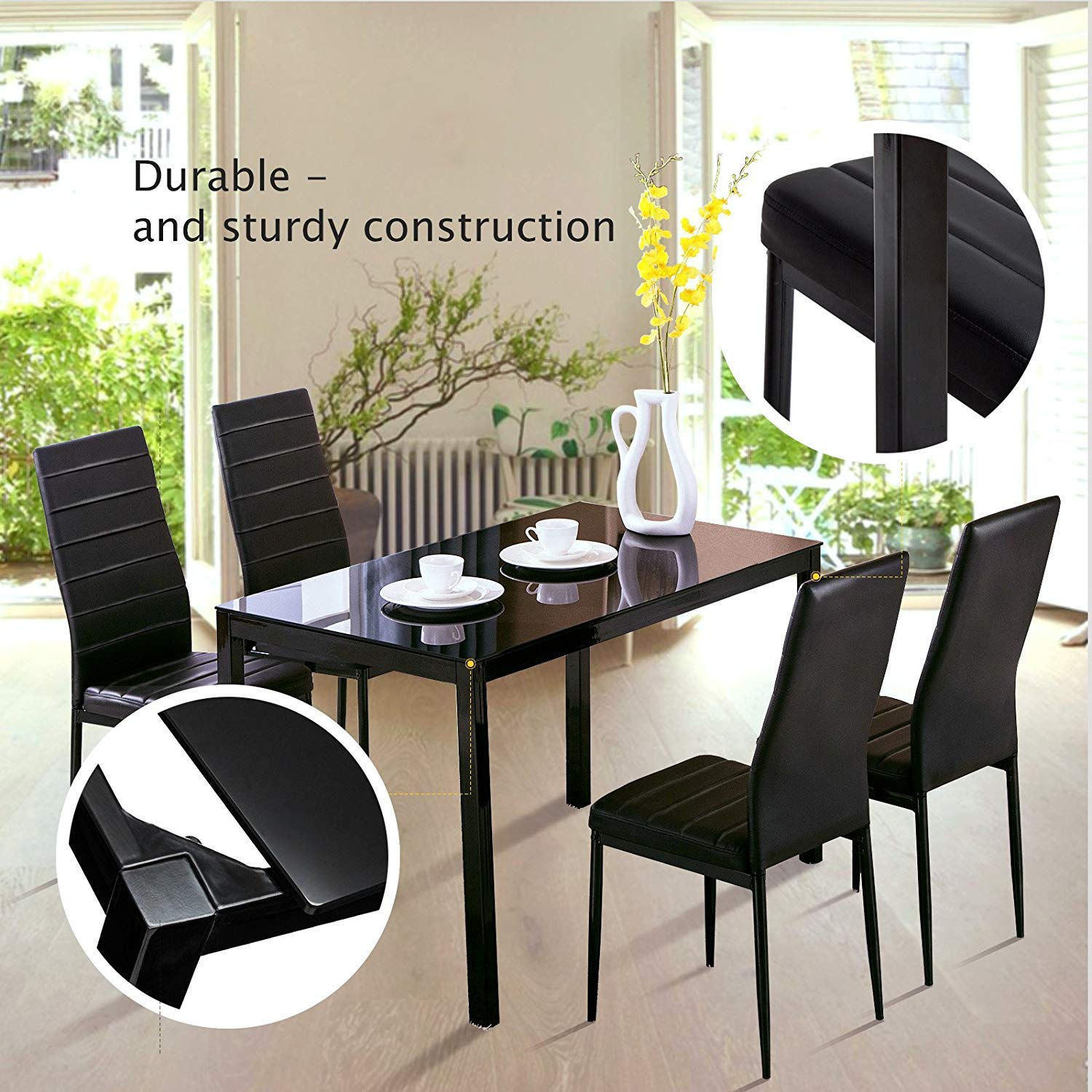 5 Pieces 1 Table 4 Chairs Huisen Furniture Modern Black Glass Dining Table And Chairs Set
