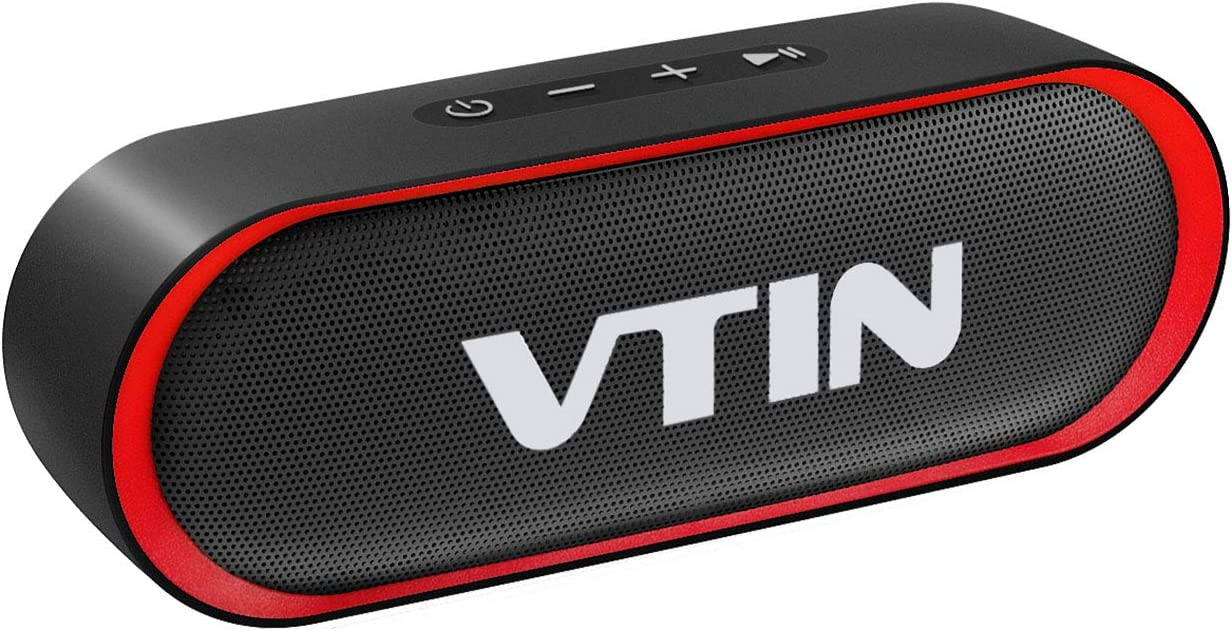 VTIN R4 Bluetooth Speaker V5.0, Portable Bluetooth Speaker with 24H Playtime, Crystal Clear Stereo Sound, 10W Powerful Waterproof Speaker, Built-in Mic, Support TF Card, Suitable for Home and Outdoor