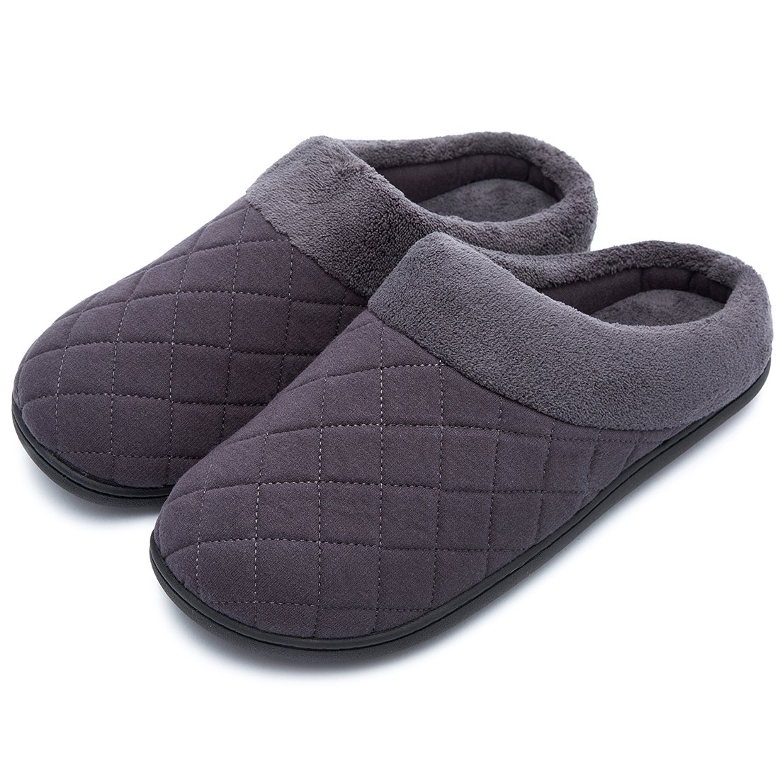 Men's Comfort Quilted Memory Foam Fleece Lining House Slippers Slip On Clog House Shoes (Large / 11-12 D(M) US, Dark Gray)