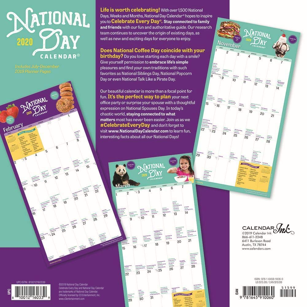 National Day Calendar 2020 Set Deluxe 2020 National Day Wall Calendar with Over 100 Calendar Stickers National Day Gifts, Office Supplies