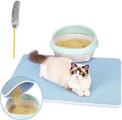 Authda Alfombrilla de arena para gatos, doble capa impermeable no tóxica duradera para mantener el suelo en la esquina para limpiar el suelo ...