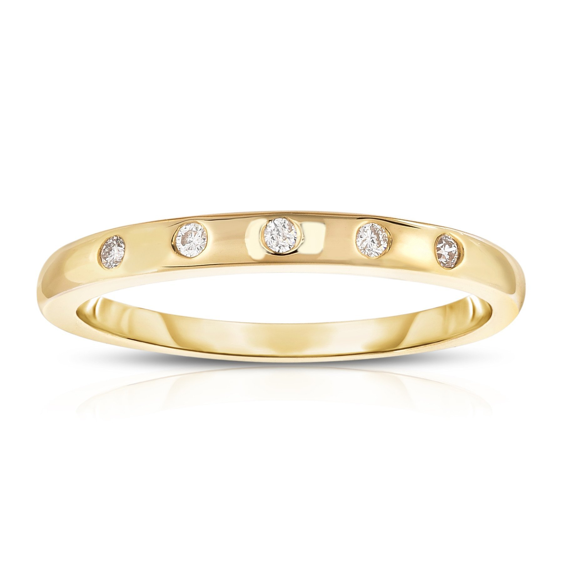 Noray Designs 14K Yellow Gold (0.06 Ct, G-H, SI2-I1 Clarity) Stackable Ring. Available in sizes 4 to 9.