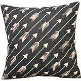 "Cotton Linen Decorative Throw Pillow Case Cushion Cover (White Arrows) 18 ""X18"""