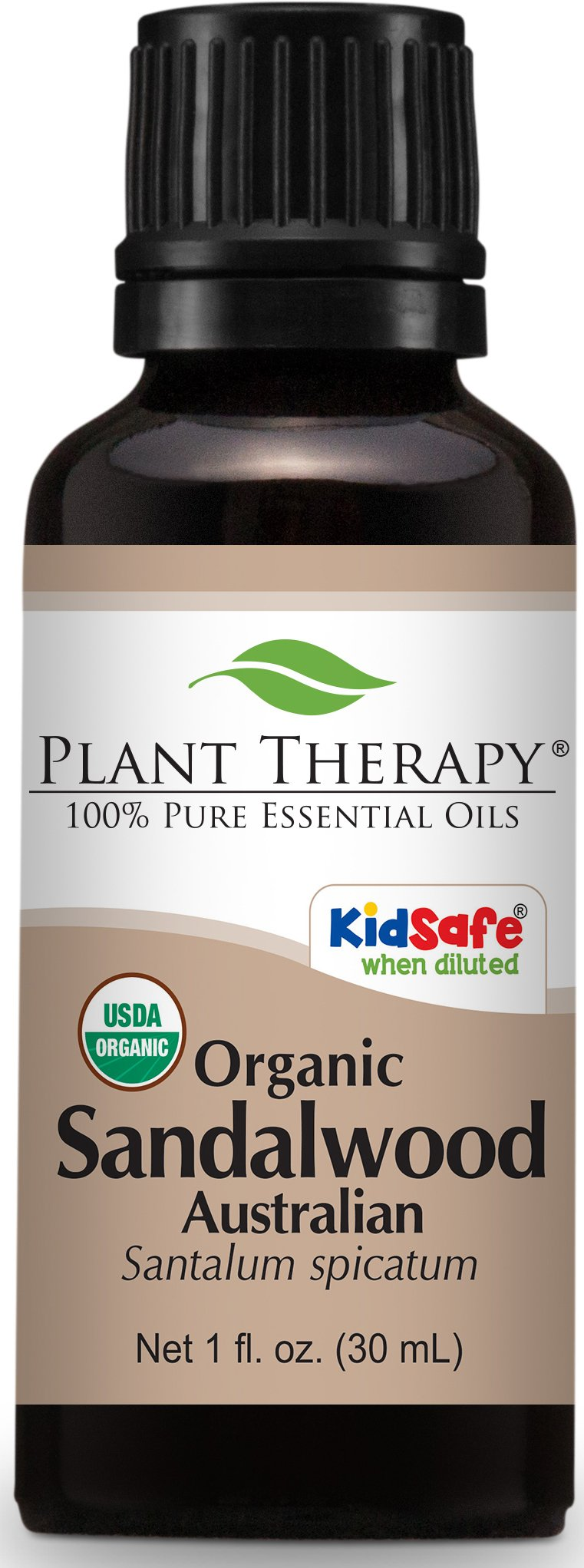 Plant Therapy USDA Certified Organic Sandalwood Essential Oil. 100% Pure, Undiluted, Therapeutic Grade. 30 ml (1 oz).