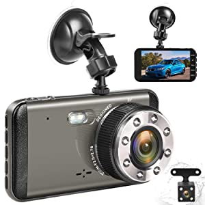 """Effort Dual Dash Cam Front and Rear,H3 FHD 1080P Night Vision Car Camera,4"""" IPS Screen 170° and 140° Wide Angle Lens.Dashboard Cameras with Parking Monitor and Loop Recording"""