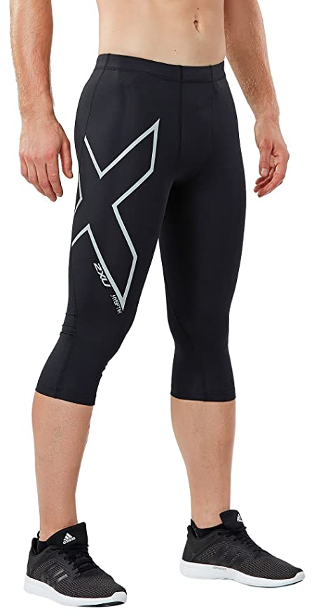 d5136eb54a488 2XU Men's Hyoptik 3/4 Compression Tights, Black/Silver Reflective, Large