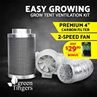 "Greenfingers 4""Hydroponics Grow Tent Kit Ventilation Kit Fan Carbon Filter Duct"