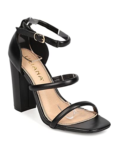 6be689a17601 Liliana Women Leatherette Open Toe Triple Strap Chunky Heel Sandal FA72 -  Black (Size