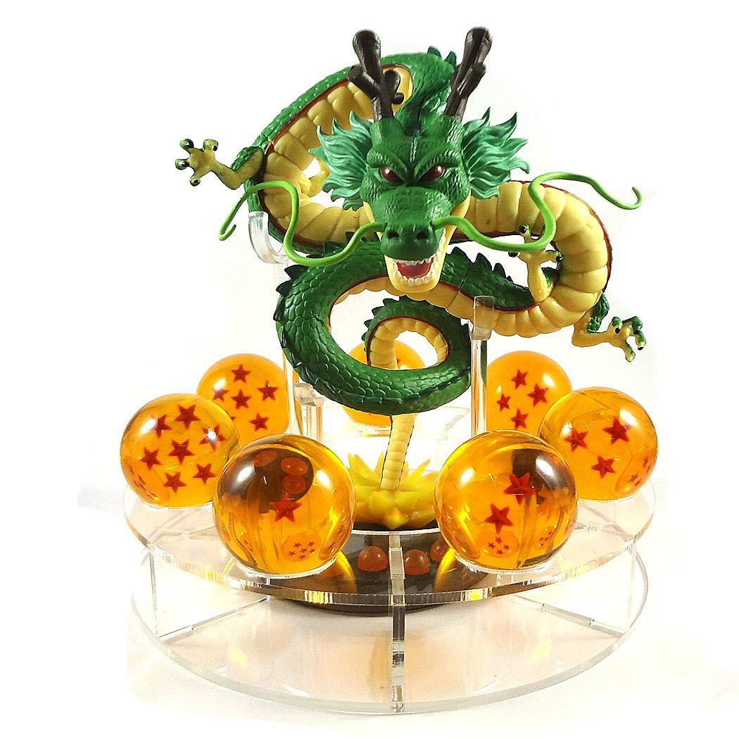 PLAYOLY Acrylic Dragon Ball Set Z Shenron Action Figure Statue 7pcs 3.5cm Balls Stand