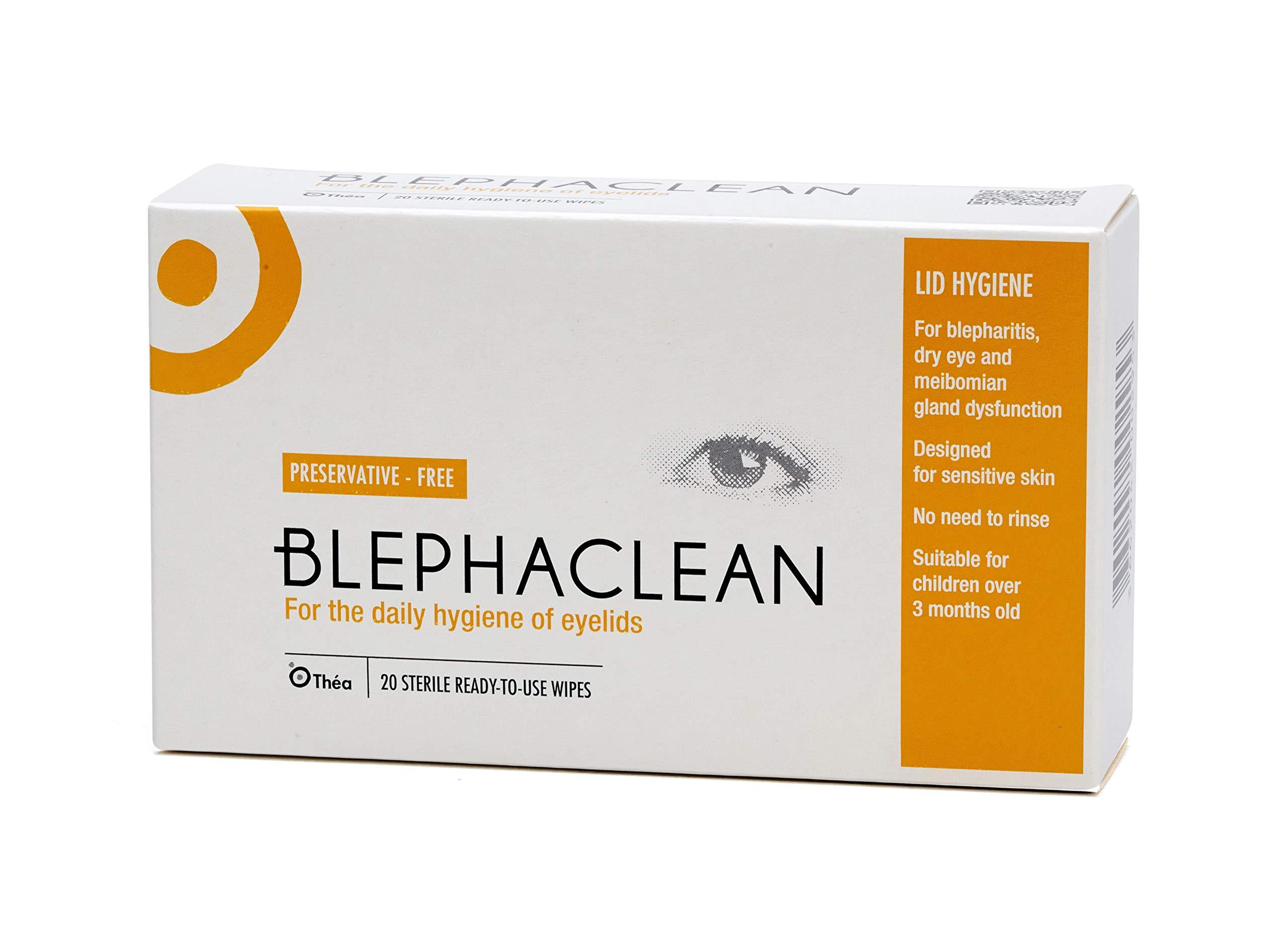 SIX PACKS of Blephaclean Preservative Free 20 Sterile Eyelid Wipes