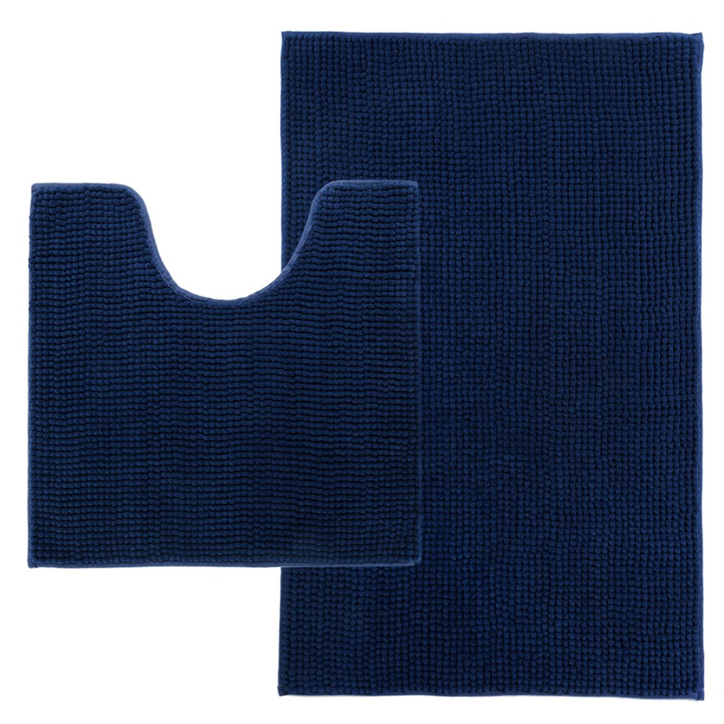 LANGRIA Set of 2 Soft Plush Chenille Yarn Shaggy Toilet Mats in 2 Sizes Anti-slip Back Bathroom Living Room Bedroom Mat Floor Water Absorbent and Anti Mildew and Mold (2 Pieces, Navy Blue)