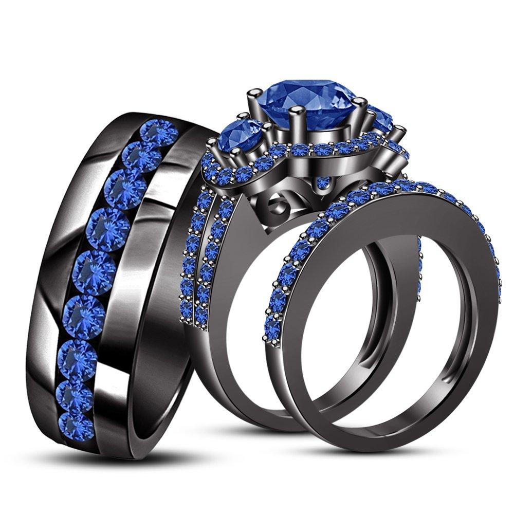 TVS- JEWELS Vintage Engagement Trio Ring Set Round Cut Gemstone With 925 Silver Black Rhodium Plated (Blue Sapphire)