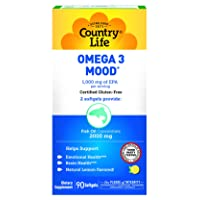 Country Life Omega-3 Mood 1,000mg EPA Per Serving with Molecularly Distilled Fish...