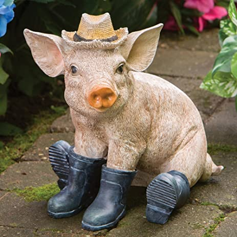 Bits And Pieces   Pig In Boots Sculpture   Polyresin Home Or Garden  Decorative Animal Statue