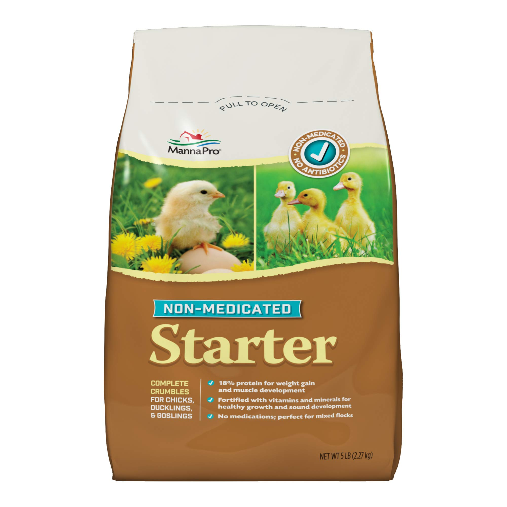 Manna Pro Chick Starter Feed, 5 Pound, Non‑Medicated, for Chicks Ducklings and Goslings by Manna Pro