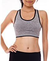 Ladies Heather Gray Racerback Seamless Lined Sports Bra