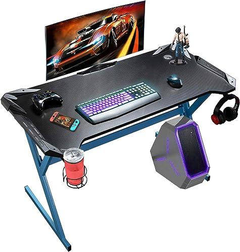 Large Gaming Desk 47 Inch Ergonomic Gamer Desk Y Shaped Gaming Desk Home Racing Desk Computer Desk