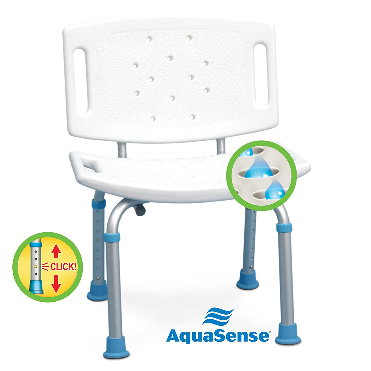 Amazon.com: AquaSense Adjustable Bath and Shower Seat with Non ...