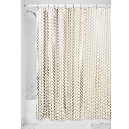 InterDesign Diamond Cortina de ducha de tela, Cortinas decorativas en tejido fácil de cuidar,