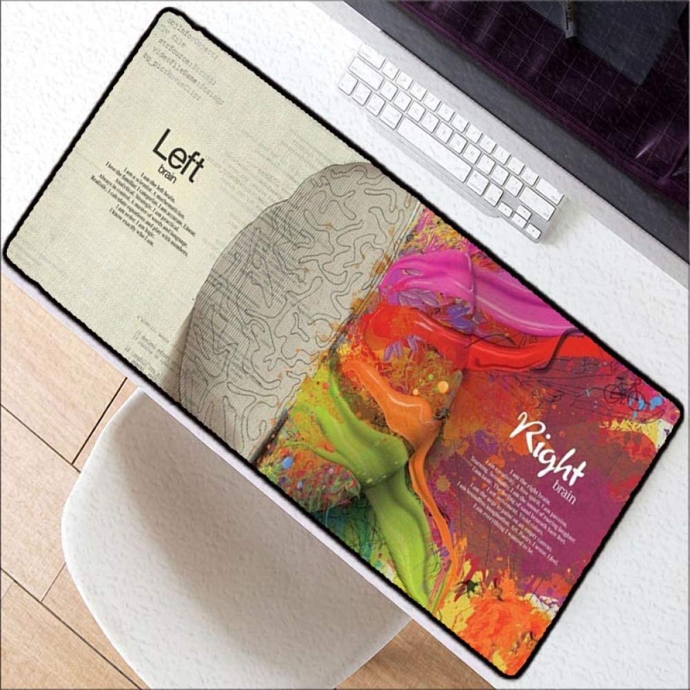 WHFDSBDLeft Brain Right Brain Speed Locking Edge Large Natural Rubber Mouse Pad Waterproof Game Desk Mousepad Mat