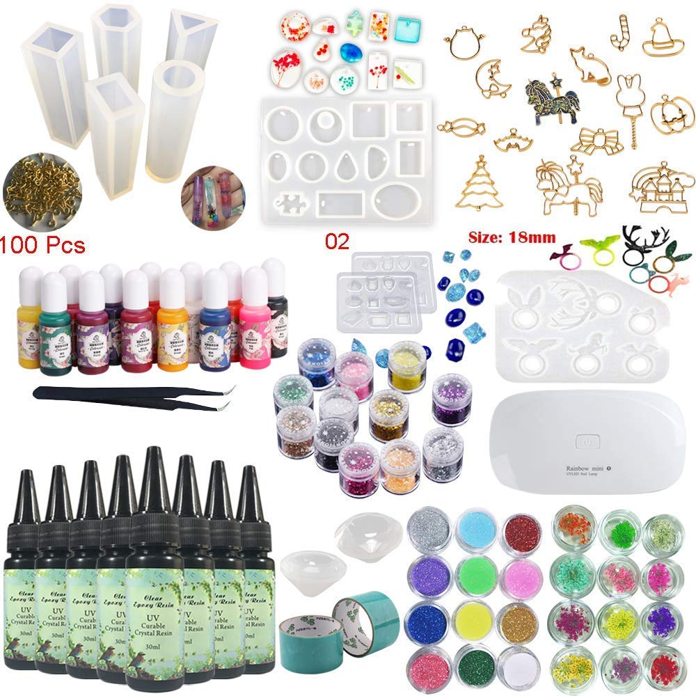 8 Pieces 30ML Crystal Epoxy Resin UV Glue, 1 Lamp Tweezer 36 Decoration 11Pcs Silicone Mould 100 Rings 13 Color Liquid Pigment 17 Metal Jewelry with 2X 5 Meters Tape For DIY Beauty by Frenshion