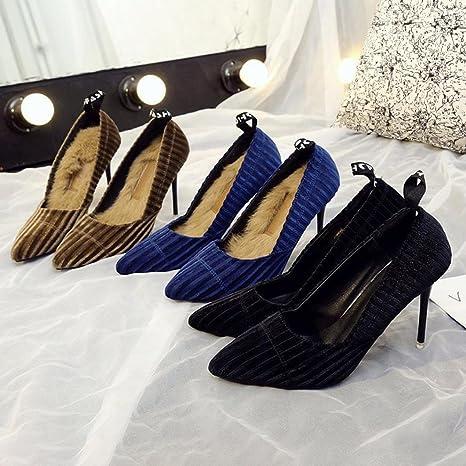 Zapatos de punta estrecha de moda de primavera de las mujeres Zapatos de tacón alto de poca profundidad de pana(38 EU, Azul): Amazon.es: Ropa y accesorios