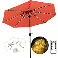 Patio Umbrella Light String Lights, 104 LEDs 8 Lighting Mode with Remote Control, 3AA Battery Operated Waterproof Outdoor Umbrella Pole Lights for 9ft-10ft Patio Umbrellas (Warm White) …