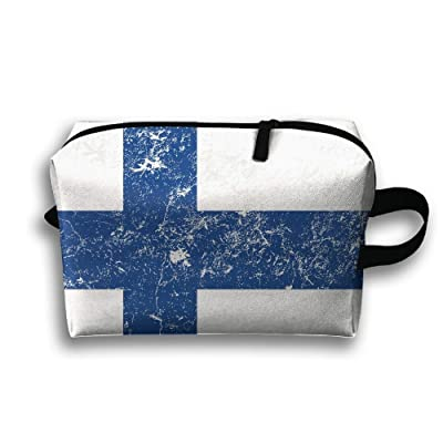 free shipping Leisue Flag Of Finland Cosmetic Bag Zipper Makeup Accessories Pouch Toiletries Bags Pen Pencil Power Lines Travel Cases Hanging Documents Handbag