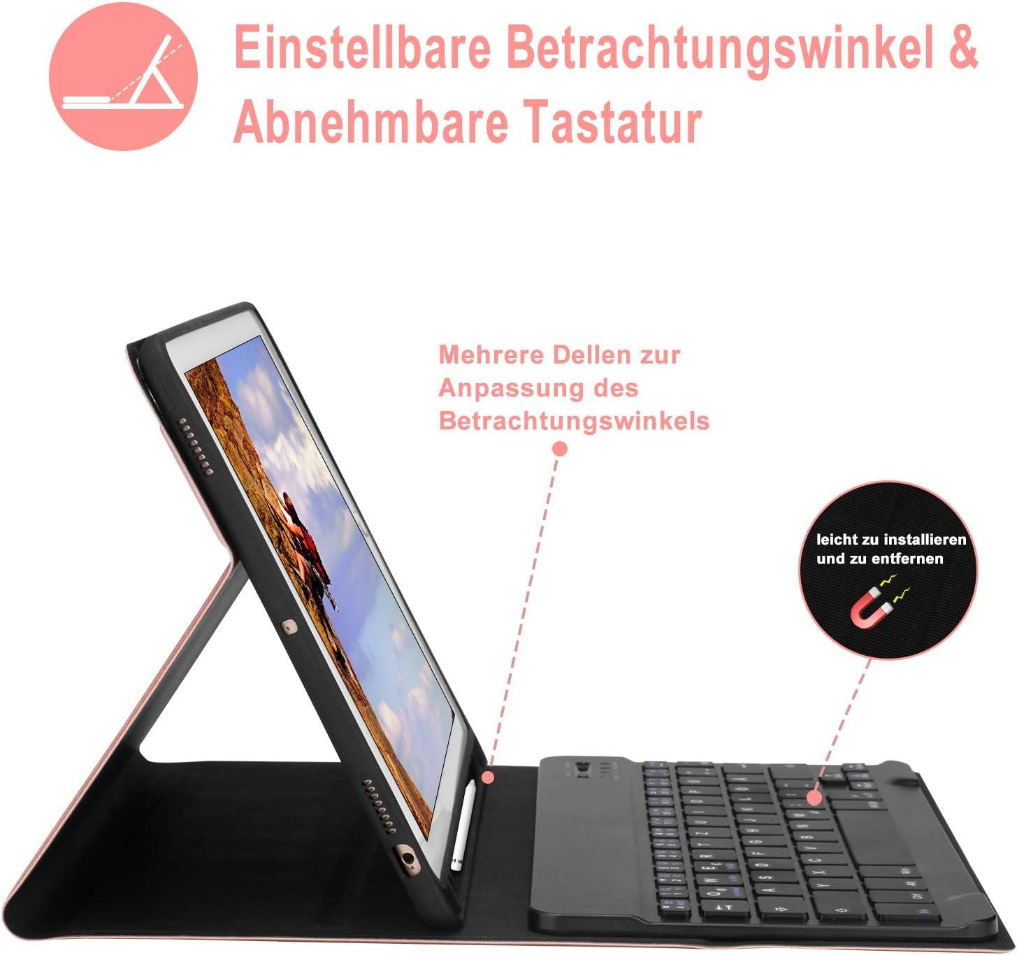 KVAGO Tastatur f/ür iPad 2019 Bluetooth Deutsch Tastatur und Robustes H/ülle Kompatibel mit iPad Air 3//iPad 10.2 2019//iPad Pro 10.5 iPad 7 Tastatur H/ülle mit Auto Weck//Schlaffunktion Schwarz