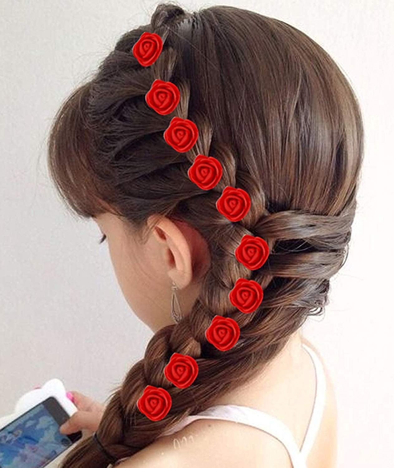 Buy Aairaa Kid S Small Rose Flower Hair Pin For Side Juda Red Set Of 24 At Amazon In