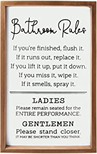 VILIGHT Bathroom Rules Sign - Farmhouse Toilet Decorations Restroom Wall Decor - Funny Gift for Men and Women - Vertical 16x9.5 Inches