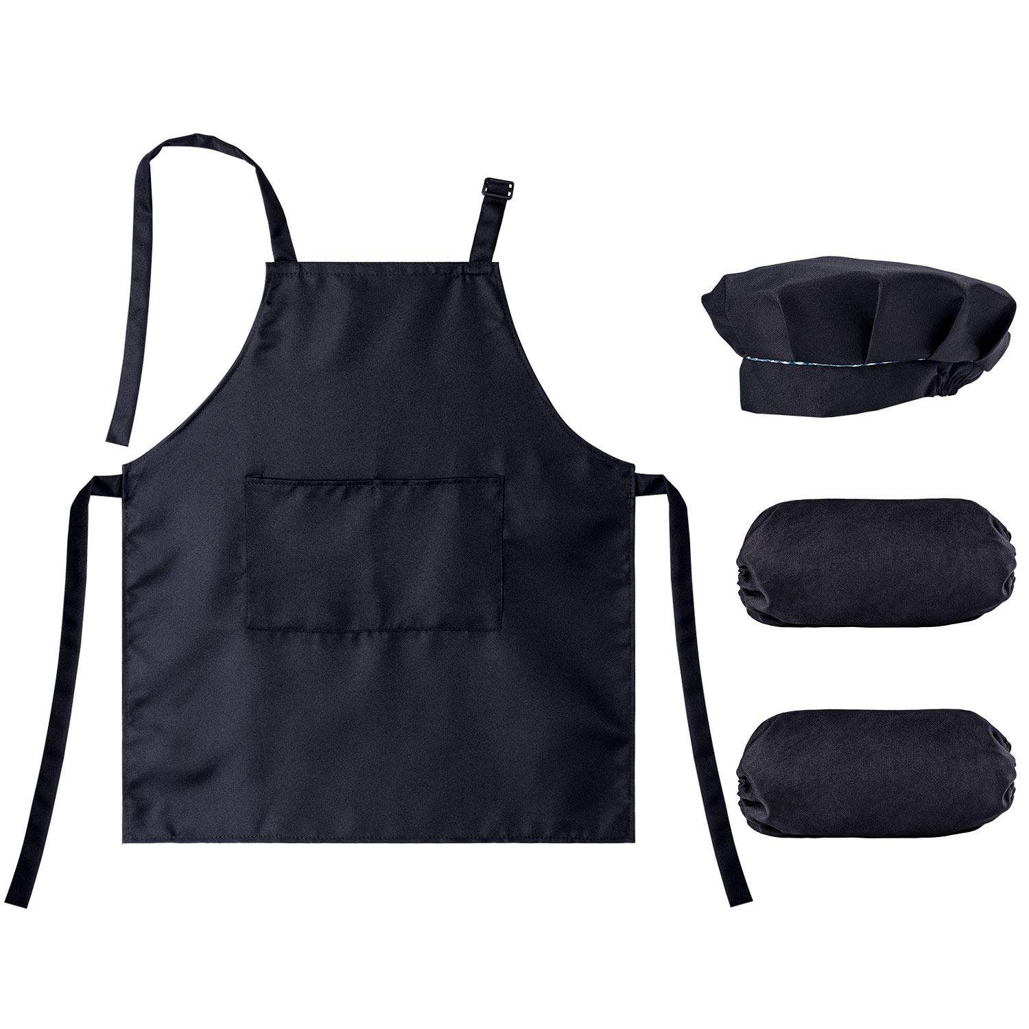 Kids Apron, Chef Hat, and Over-Sleeve Set, for Kitchen, Classroom, and Art Painting Activity.(M) Petutu Kid-Apron-M