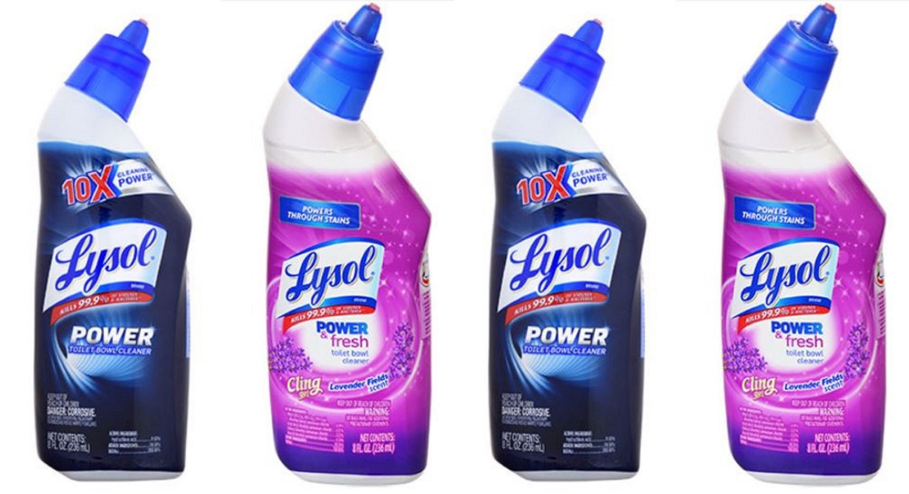 Lysol Clean & Fresh Toilet Bowl Cleaners, Lavender and Country Scents, 4-ct Set