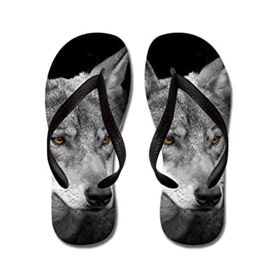 78b4bf1cd JKYUKO The gray wolf glaring at you flip flops Adults XL