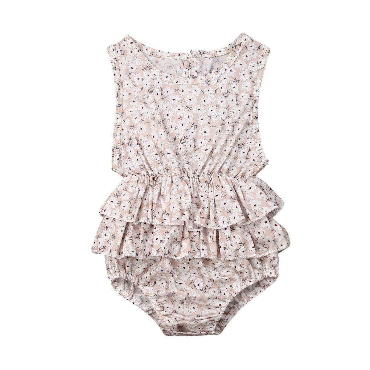 Newborn Baby Girl Romper Floral Print Vintage Jumpsuit Outfit Playsuit Clothes (0-6M, Ruffles/Apricot)